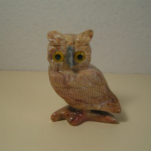 Brown Peruvian carved onyx stone owl